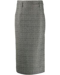 Nude Plaid Check Pencil Skirt - Grey