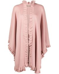 N.Peal Cashmere Ruffle-trimmed Cape - Pink