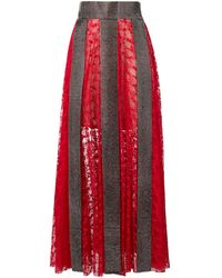 Christopher Kane Crystal Lace Maxi Skirt - Red
