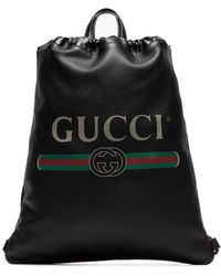 Gucci Logo Print Leather Drawstring Backpack - Black