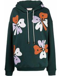 Marni Худи С Цветочной Вышивкой - Зеленый