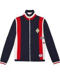 Gucci - Gestrickte Bomberjacke mit Patches - Lyst