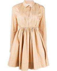 Jil Sander Pleat Detail Flared Shirt Dress - Natural