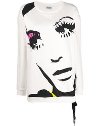 Liu Jo Face-print Lace-up Sweatshirt - White