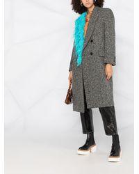 MSGM Двубортное Пальто С Перьями - Многоцветный