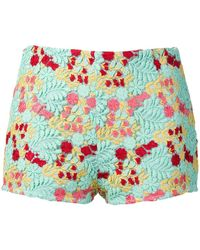 Giamba Multicoloured Embroidered Shorts - Green