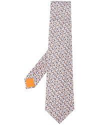 Hermès プレオウンド プリント ネクタイ - ブルー