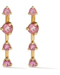 Wwake 14kt Rose Gold Large Four Step Earrings - Pink