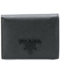 Prada - All Designer Products - Logo Plaque Small Wallet - Lyst