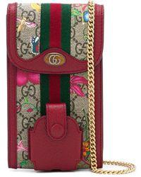 Gucci Pochette à motif GG Flora - Rouge