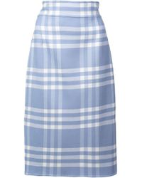 Oscar de la Renta - Checked Pencil Skirt - Lyst
