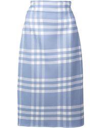 Oscar de la Renta - Checked Pencil Skirt - Lyst