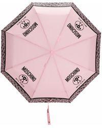 Moschino Paraguas con logo estampado - Rosa