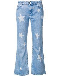 Stella McCartney Star print cropped jeans - Bleu