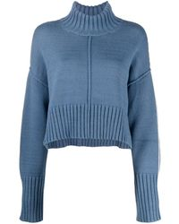 Peter Do Fine-knit Visible-seam Sweater - Blue