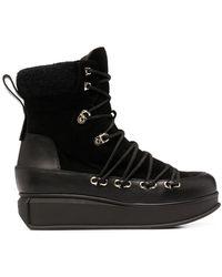 Ferragamo Ботинки На Платформе Со Шнуровкой - Черный