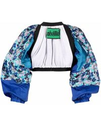 Colville Floral-print Open-front Cropped Jacket - Blue