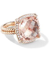 David Yurman 18kt Rose Gold Châtelaine Diamond And Morganite Ring - Metallic
