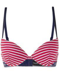Emporio Armani Logo Lined Striped Bra - レッド