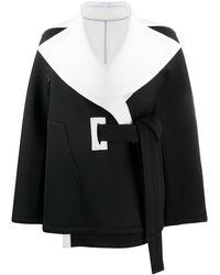 Issey Miyake コントラストカラー コート - ブラック