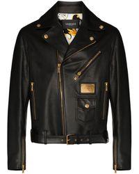 Versace Байкерская Куртка С Металлическим Логотипом - Черный