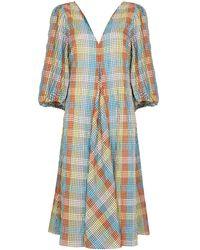Ganni チェック ドレス - ブルー