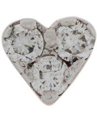 Kismet by Milka Pendiente Mini Heart con diamantes en oro rosa de 14kt - Metálico