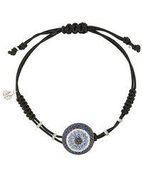 Pippo Perez - 18kt White Gold, Diamond And Sapphire Evil Eye Charm Bracelet - Lyst