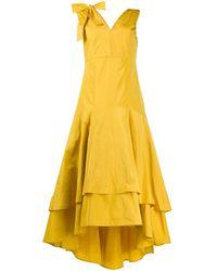 Pinko Ярусное Платье Асимметричного Кроя - Зеленый