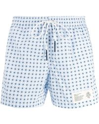 Eleventy Geometric-print Swim Shorts - Blue