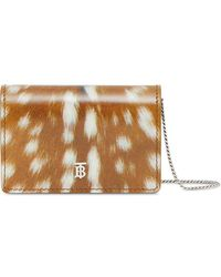 Burberry Deer Print Leather Card Case with Detachable Strap - Marron