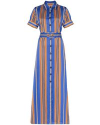 Evi Grintela Badi Striped Maxi Shirt Dress - Blue