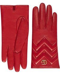 Gucci Gants GG Marmont en cuir à chevrons - Rouge