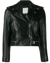 Sandro Cropped Biker Jacket - Black