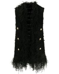 Balmain Fringed Tweed Waistcoat - Black
