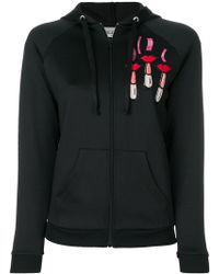 Valentino - Zipped Hoodie With Lipstick And Logo Embroidery - Lyst