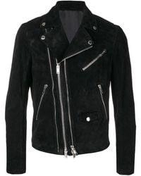 Les Hommes Zipped Fitted Biker Jacket - Black