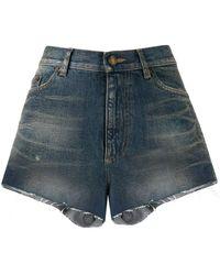 Saint Laurent High Waisted Denim Shorts - Blue