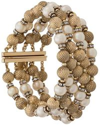 Dior 1990's Pre-owned Pearl And Crystal Embellished Bracelet - Metallic