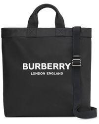 Burberry Bolso shopper con logo - Negro