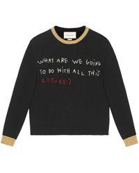 Gucci Coco Capitán Embroidered Sweater - Black