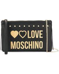 Love Moschino ロゴ フリンジ クラッチバッグ - ブラック