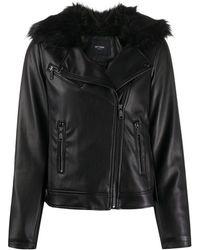 Twin Set Куртка Из Искусственной Кожи С Меховым Воротником - Черный