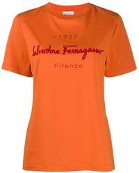 Ferragamo Logo-print T-shirt - Orange