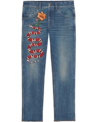 Gucci - Embroidered Denim Trousers - Lyst