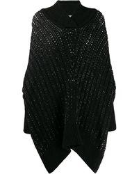 Saint Laurent Open-knit Cape Poncho - Black
