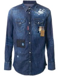 DSquared² - Distressed Denim Patchwork Shirt - Lyst