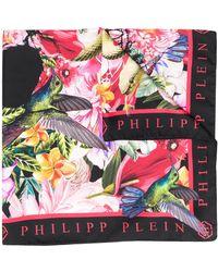 Philipp Plein Skull And Roses Scarf - Black
