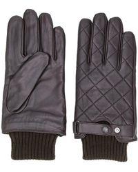 Barbour ニットヘム キルティング手袋 - ブラウン