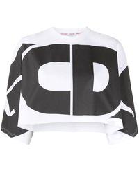 Gcds Top crop à logo imprimé - Blanc